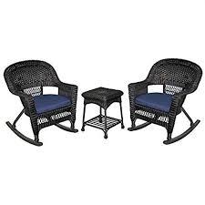 black wicker rocking chair. Delighful Wicker Pemberly Row 3pc Wicker Rocker Chair Set In Black With Blue Cushion For Rocking G