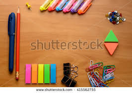 colorful office accessories. Business Accessories And Colorful Office Supplies (notebooks, Pens, Markers, Crayons, Paints L
