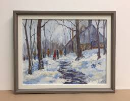winter scene framed in rustic wood and linen liner paintings on canvas boards can be