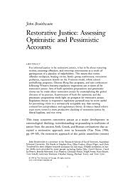restorative justice assessing optimistic and pessimistic accounts  restorative justice assessing optimistic and pessimistic accounts pdf available