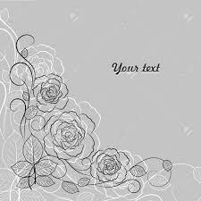 あなたのテキストのための場所と灰色の背景に黒と白のシンプルな花柄