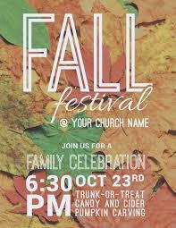 Fall Festival Leaves Invitecard Church Invitations Outreach