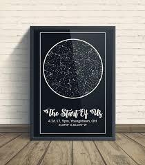 Etsy Star Chart Constellation Map Art Custom Night Sky Print Stars Chart Stars On Wedding Night Celestial Art Star Map By Date Personalized Gift