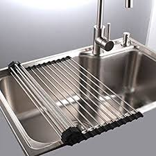 Roll Up Dish Drying Rack In Sink Stainless Steel Kitchen Folding Rack Over  Sink Dish Drainer16