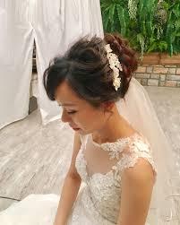 高めアップのシニヨンのブライダルヘアアレンジ Marryマリー