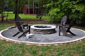 dark polywood adirondack chairs with exciting fire pit kit and pea gravel patio for interesting patio design
