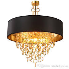 Drum shade pendant lighting Double Modern Chandeliers With Black Drum Shade Pendant Light Gold Rings Drops In Round Ceiling Light Fixture Plug In Pendant Lamp Maskros Pendant Lamp From Dhgatecom Modern Chandeliers With Black Drum Shade Pendant Light Gold Rings
