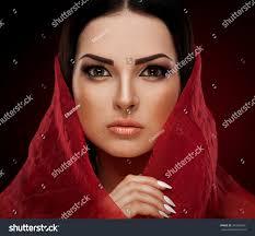beautiful sensuality elegance lady face woman has big brown eyes long eyelashes brunette