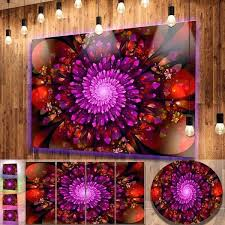 purple flower metal wall art glowing crystals in contemporary fl metal decorating den jobs