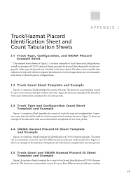 Appendix J Truck Hazmat Placard Identification Sheet And Count