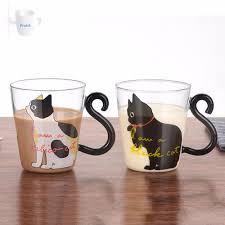 <b>Cute Creative Cat Kitty</b> Glass Mug Cup Tea Cup   Shopee Singapore