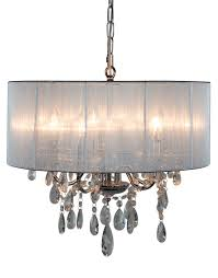 5 arm chrome chandelier with silver grey shade