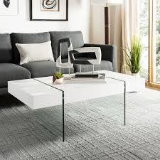 jacob rectangular glass leg modern coffee table cof7001a coffee tables color white save