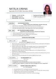 Curriculum Vitae Curriculum Vitae Examples In Spanish
