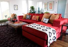 Living Room With Red Furniture Sectional Living Room Red Sofa And Ottoman As Coffee Table And