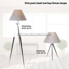 Vloerlamp Hout Met 3 Poten En Linnen Taupe Kap
