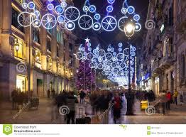 Decorations In Spain Christmas Decorations On Portal Del Angel Barcelona Editorial