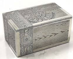 Decorating Cigar Boxes Russian silver cigar box with trompe l'oeil engraved decoration 59
