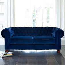 chesterfield 2 seater velvet sofa blue