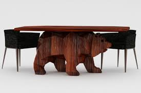 wooden Unique Table with Bear Shaped Base