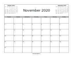 November 2020 Calendar Free Printable Allfreeprintable Com