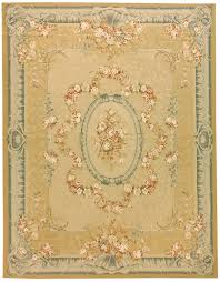 hand woven wool french aubusson flat weave garland gold blue rug