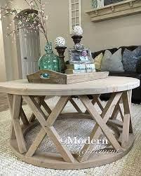rustic round farmhouse coffee table