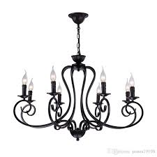 american iron candle chandelier e14 6 8 heads suspension black metal led lamp for living room study home lighing g289 designer pendant lights dining room