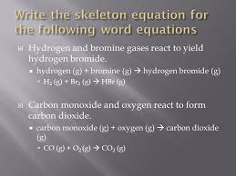 5 write the skeleton equation for the following word equations
