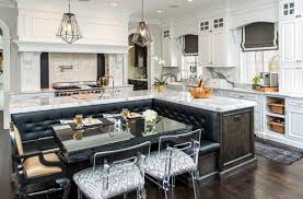 luxury marble kitchen with l shaped island with built in leather bench seating