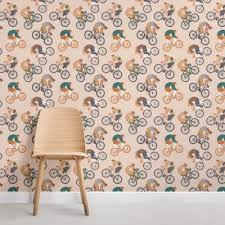 wallpaper for office wall. Bicycle Pattern Wallpaper Mural Wallpaper For Office Wall