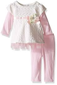 Youngland Baby Girls Knit Dress With Lace Trim And Legging