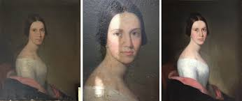 removal of varnish on oil painting 19th century portait of young woman cleaned and
