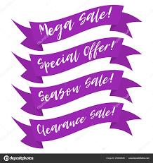 Purple Ribbon Banner Modern Promotion Purple Ribbon Banner Lettering Discount