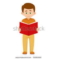 cartoon boy reading big red book isolated on a white background student is standing and