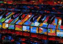 abstract jazz painting keyboard by debra hurd