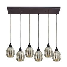... Multi Pendant Lighting Elk Lighting Multi Light Pendant Light With  Mercury Glass And 6 Lights Black