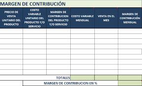 Formato De Hoja De Servicio Formato De Hoja De Costos Y Margen De Contribucion Finanzas
