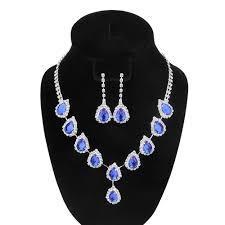 2019 yt605 blue crystal teardrop wedding bridal jewelry sets rhinestone necklace set for women african beads jewelry set from dayi65 20 41 dhgate com