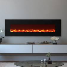 skyline log electric wall mounted fireplace in black