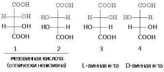 Реферат Карбоновые кислоты и их производные com Банк  Для идентификации оптических изомеров гидроксилслдержащих веществ применяют d l номенклатуру Оптические изомеры винной кислоты представлены на рисунке