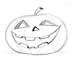 pumpkin drawing. pumpkin faces are supposed to be carved in real pumpkins so give it that realistic feeling you should add the thickness of visible trough drawing