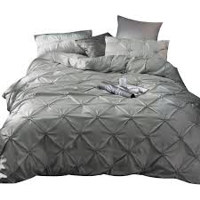 soft gray pinch pleat design duvet cover set corner ties cotton pintuck decorative bedding set queen king yellow bedding teen girl bedding from