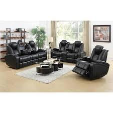 denatali 3 piece black living room set