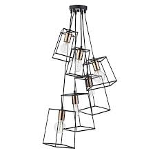 cluster pendant lighting. Tower 6 Light Cluster Pendant Black Lighting