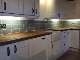 Kitchen Tiled Splashback Our Kitchen Fitted Ourselves Tiled Ourselves Sage Metro Tiles