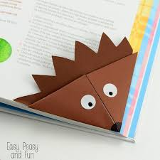 corner bookmark hedgehog simple origami for kids to make