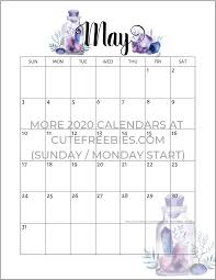 Calendar May 2020 May 2020 Calendar Free Printable Crystals Cute Freebies