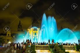 Light Show Fountain Barcelona Magic Fountain Light Show At Night Next To National Museum In