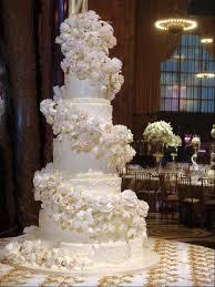 Fancy Three Tier Square Retro Orange And Ivory Wedding Cake